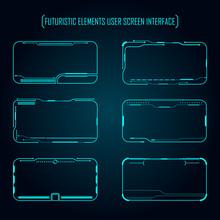 Futuristic Elements User Screen Monitor Interface Vector Illustration