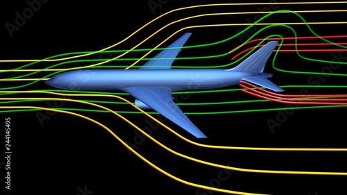 Air flow around airplane body. 3d render wind tunnel design concept .Side view