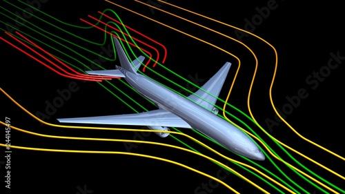 Photo Air flow around airplane body