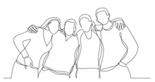 Group Of College Friends Standing Together Posing - One Line Drawing