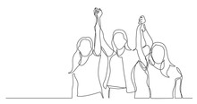 Women Team Of Winners Holding Hands - One Line Drawing