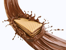 Crispy Wafer With Chocolate Splash, With Clipping Path 3d Illustration