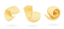 Set Of Butter Curls And Roll With Clipping Path, 3d Illustration.