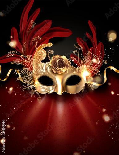 Leinwand Poster Golden carnival mask