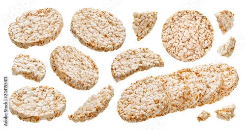 Valokuva Puffed rice bread isolated on white background, diet crispy round rice waffles