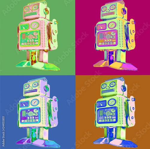 Fotomural retro robot pop art style