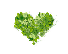 Heart Shaped Of Bright Green Small Shamrock Leaves