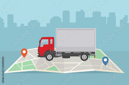 Fototapeta Delivery truck and map on city background. Transport services, logistics and freight of goods concept. Flat style, vector illustration.  obraz