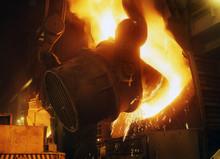 Pouring Hot Liquid Blast Furnace Iron Into Oxygen Steelmaking Converter.
