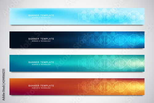 Fototapeta Banners and headers for site with DNA strand and molecular structure. Genetic engineering or laboratory research. Abstract geometric texture for medical, science and technology design. obraz