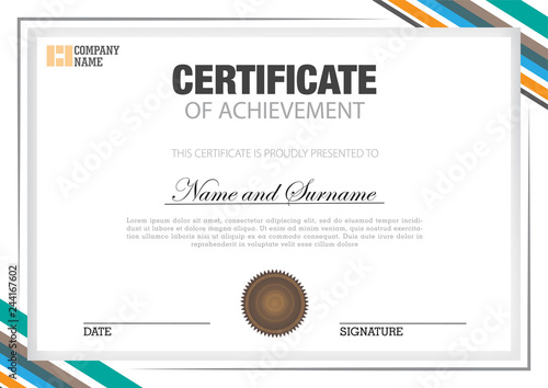 Fotomural Certificate template on white color