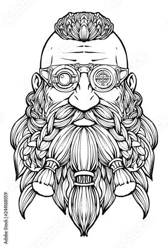 A bearded dwarf in a steampunk glasses Canvas