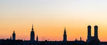 Munich Silhouette During Sunse...