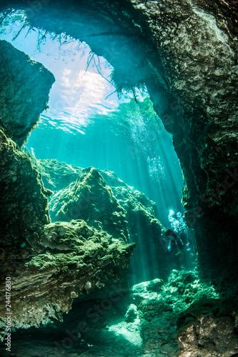 Scuba diving in the Casa Cenote, Tulum, Mexico