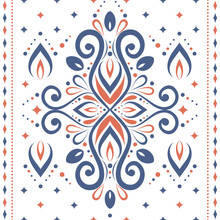 Blue And Orange Ornamental Seamless Pattern. Vintage Vector, Paisley Elements. Ornament. Traditional, Turkish, Indian Motifs. Great For Fabric And Textile, Wallpaper, Packaging Or Any Desired Idea.
