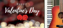 Happy Valentine's Day With Two Beautiful Red Roses On Romantic Bokeh Blur Baclground. With Piano And Guitar Music For Romantic Love Party.