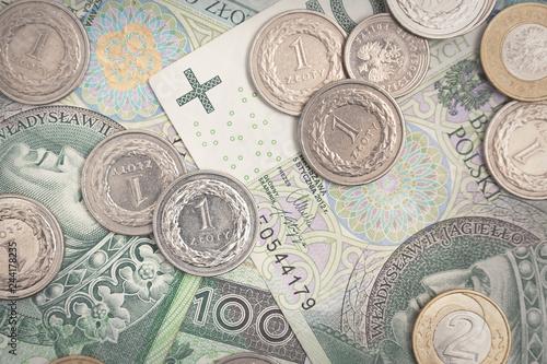 Fototapeta Polish currency, polish banknotes and coins obraz