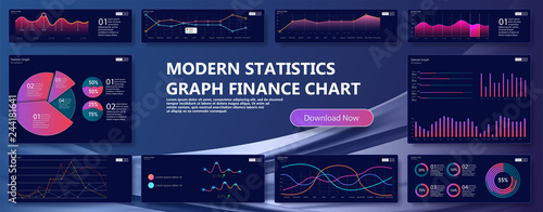 Obraz na płótnie Modern  infographic vector template with statistics and finance charts