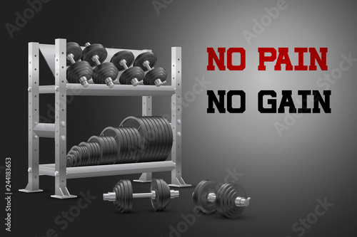Fotografie, Obraz  Beautiful realistic perspective fitness vector banner with no pain no gain sign of storage shelf full of black iron weight barbell plates and of black iron dumbbels on dark background