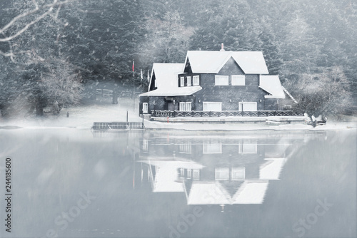 Montage in der Fensternische Rosa dunkel Lake house in Abant lake with snow in winter.