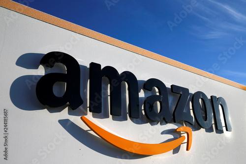 2a1a5f5a9f5 The logo of Amazon is seen at the company logistics centre in Boves ...