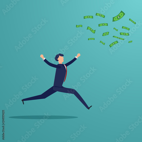 Tela  Businessman running to catch money banknote that blow away