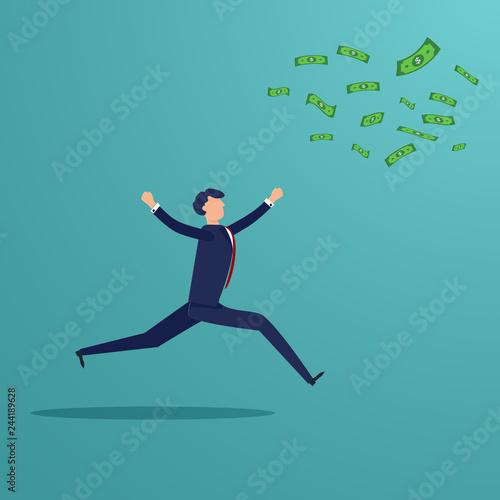 Fotografia Businessman running to catch money banknote that blow away
