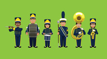 Marching Band Cute Cartoon Characters Vector