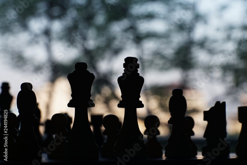 Chess board game, encounter difficult situation, business competitive concept Canvas Print