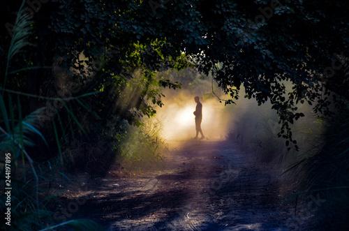Fototapeta man walk in fog  obraz na płótnie