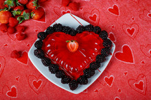 Sweet Dessert In The Form Of Hearts On A Glass Dish.