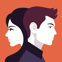 Woman And Man In Profile. Family Relationships And Gender Conflict. Psychology. Husband And Wife. Vector Flat Illustration