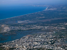 Aerial View Of Faro In Portugal Seen From An Airplane