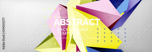Photo Stands Bright colorful triangular poly 3d composition, abstract geometric background, minimal design, polygonal futuristic poster template