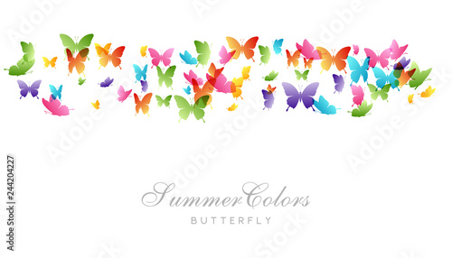 Fotografie, Obraz  Flying butterflies. Vector decoration element.