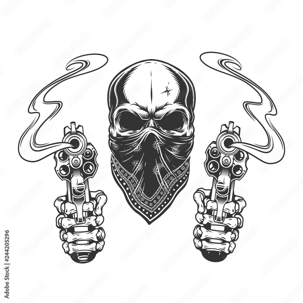 Fototapeta Vintage monochrome bandit skull in bandana