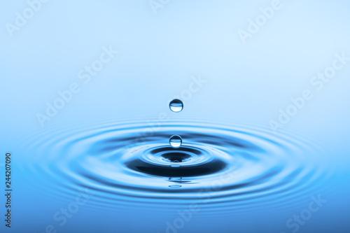 blaue Wasseroberfläche mit Wellen und Tropfen