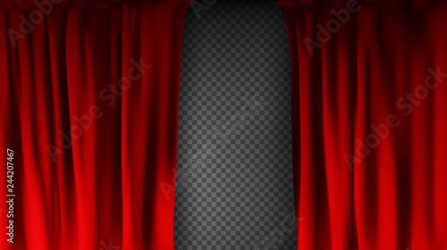 Realistic colorful red velvet curtain folded on a transparent background Canvas Print