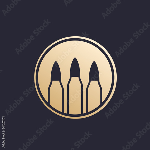Photo bullets, ammo vector logo