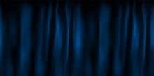 Realistic Colorful Blue Velvet Curtain Folded. Option Curtain At Home In The Cinema. Vector Illustration