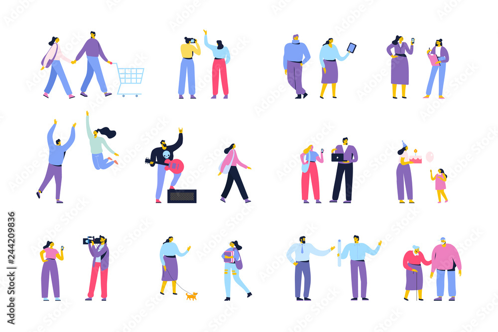 Fototapety, obrazy: People of different ages and occupations. Male and female characters vector set. Flat vector characters isolated on white.