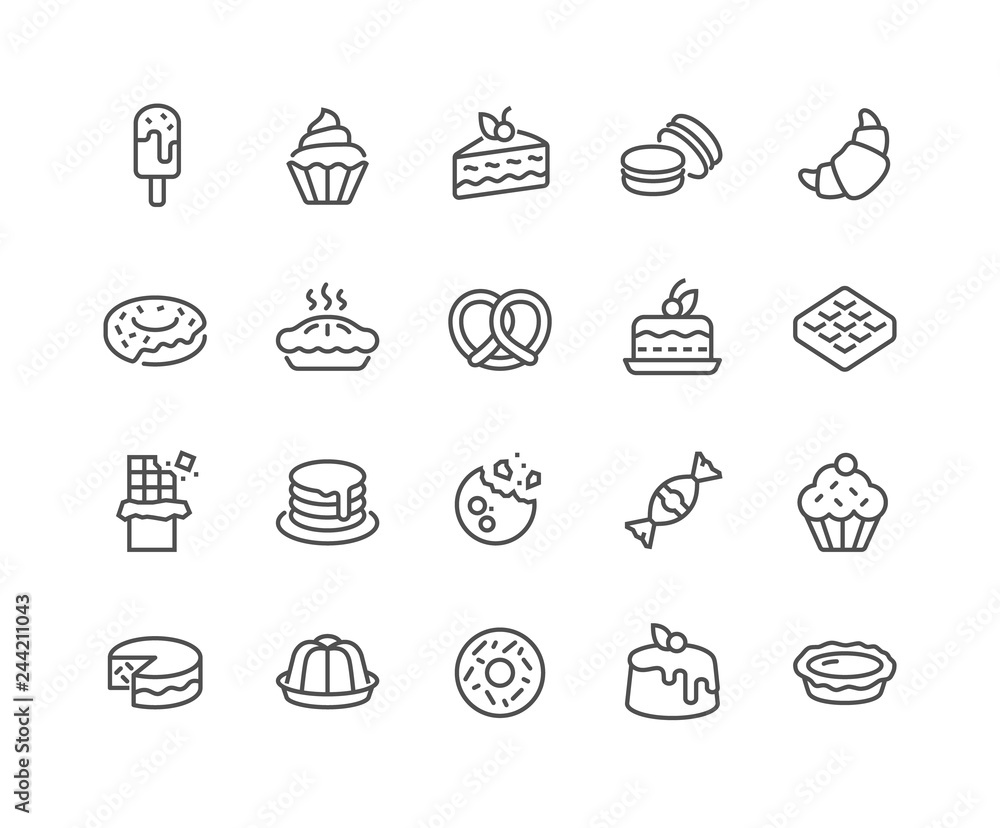 Fototapeta Simple Set of Dessert Related Vector Line Icons. Contains such Icons as Macarons, Bagel, Sweet Waffle and more. Editable Stroke. 48x48 Pixel Perfect.