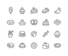 Simple Set Of Dessert Related Vector Line Icons. Contains Such Icons As Macarons, Bagel, Sweet Waffle And More. Editable Stroke. 48x48 Pixel Perfect.