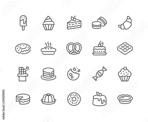 Tableau sur Toile Simple Set of Dessert Related Vector Line Icons