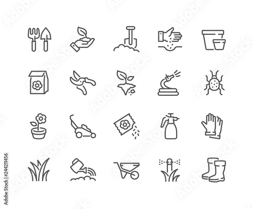 Simple Set of Gardening Related Vector Line Icons Poster Mural XXL