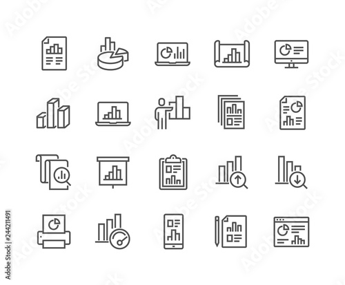 Obraz na plátně  Simple Set of Graph Related Vector Line Icons