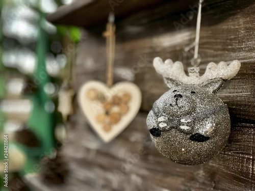 Foto  Handmade Christmas toys on the wooden planks