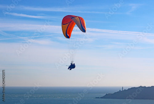 Tandem Paraglider above Start Bay