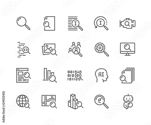 Photo Simple Set of Search Related Vector Line Icons