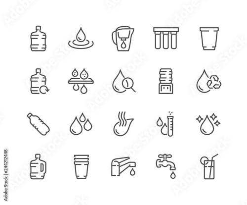 Foto Simple Set of Water Related Vector Line Icons
